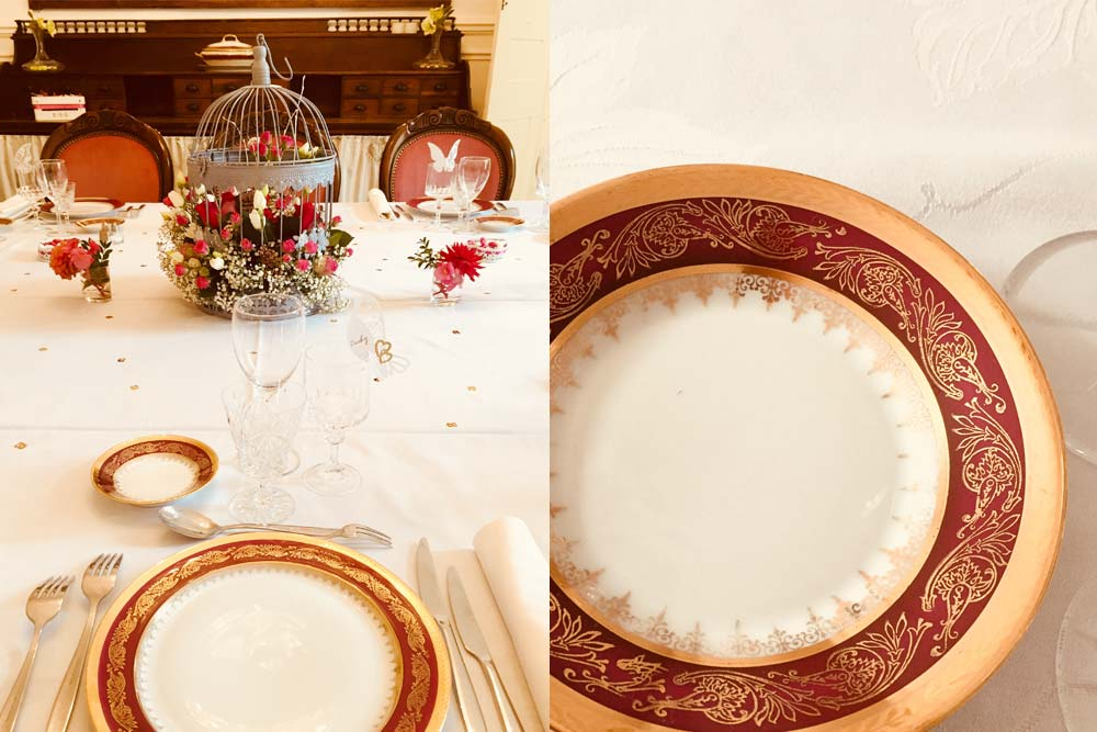 Table dressée pour une réception au Château de la Linotte